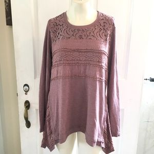 LOGO Lace Embroidered WaffleThermal Tunic Top SZ L